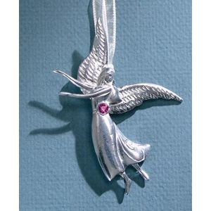 Birthstone Angel Pin - October