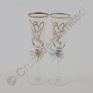Bride and Groom Celebration Flutes