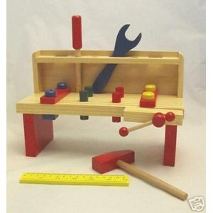 Wooden Tool Bench Childs Toy