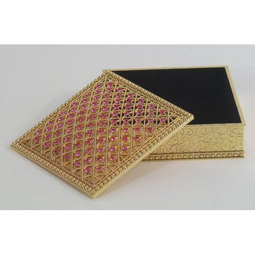 Jewelled Square Pink Trinket Box Ref LP1643