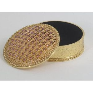 Jewelled Round Lilac Trinket Box