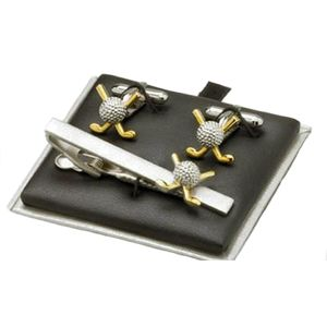 Golf Ball & Clubs Cufflinks & Tie Bar Gift Set