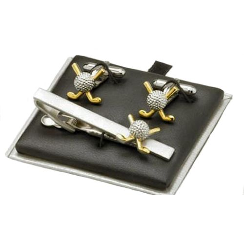 Golf Clubs & Ball Tie Bar & Cufflink Gift Set silver finish with gold finish clubs