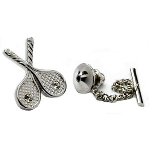 Tennis Racquets with Swarovski Crystals Tie Pin