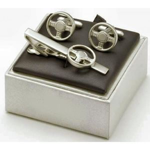 Steering Wheel Cufflinks & Tie Bar Gift Set