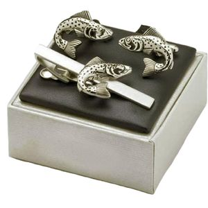 Trout Fish Cufflinks & Tie Bar Set