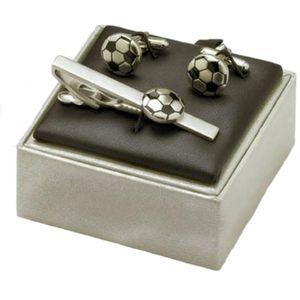Football Cufflinks & Tie Bar Gift Set