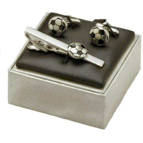 Football Cufflinks & Tiebar Set satin silver & black finish