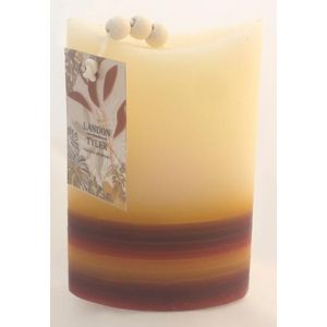 Decorative Candles - Neutral Oval 4 Tone Stripe x2
