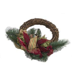 Christmas Wreath 30cm - Rattan with Poinsettia
