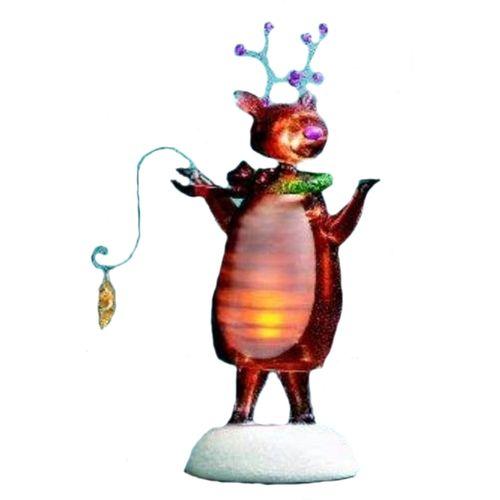 Christmas Bobble Reindeer Ornament Light Up Festive Decoration Ref 782613