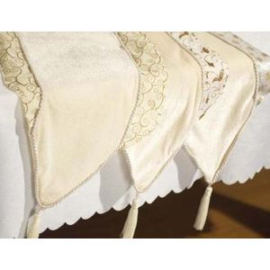 Table runner ivory & gold