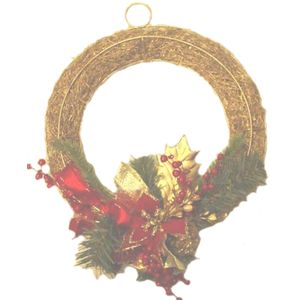 Christmas Wreath 30cm - Red Berries & Gold Pine Cones