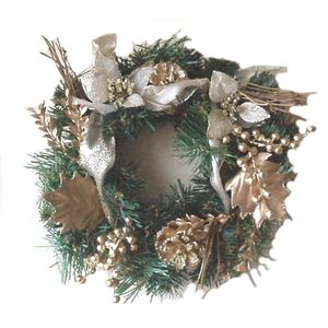"10"" Christmas Wreath with Gold decorations"