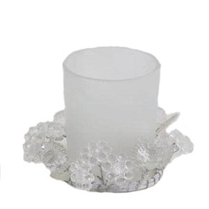 Tea Light Candle Holder - Frosted Glass with Flowers