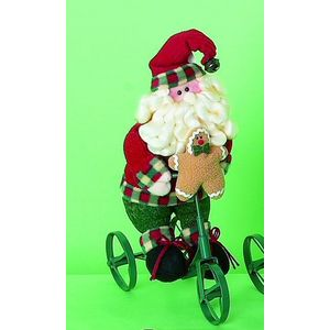 Plush Santa on Tricycle Christmas Decoration
