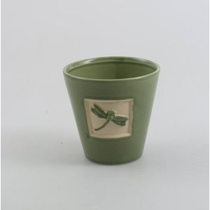 Round Green Plant pot with Dragonfly design