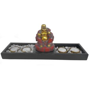 Tea Light Candle Holder - Buddha Statue with Display Tray & Pebbles