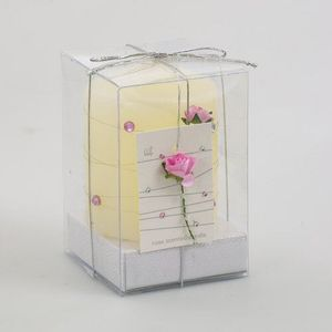 Pink Rose and diamond pillar candle