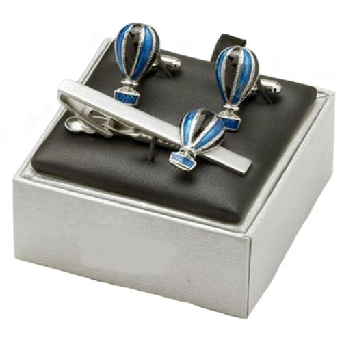 Hot Air Balloon Cufflinks and Tie bar set with gift box