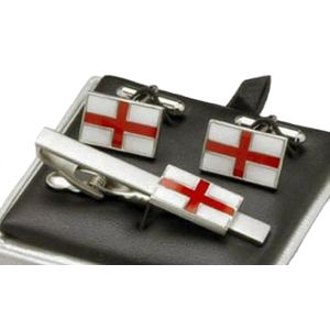 England St George Cross Cufflinks & Tie Bar Gift Set