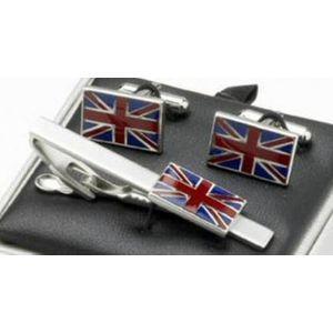 Union Jack Cufflinks & Tie Bar Gift Set