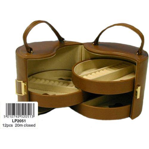 Circular Leatherette Jewellery Box (Tan) Ref LP2051