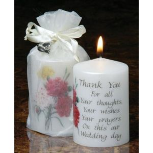 Sentiment Wedding Favour Candle - Thank You