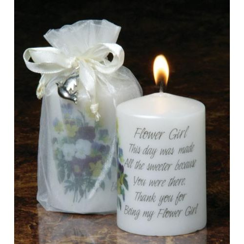 Flower Girl Wedding Candle with verse