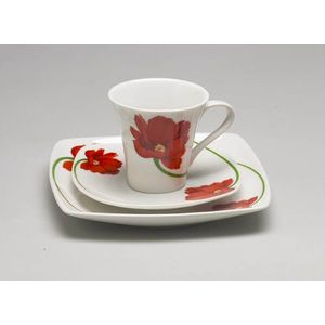 Leonardo Floral Cup Saucer & Plate for One Gift Set - Red