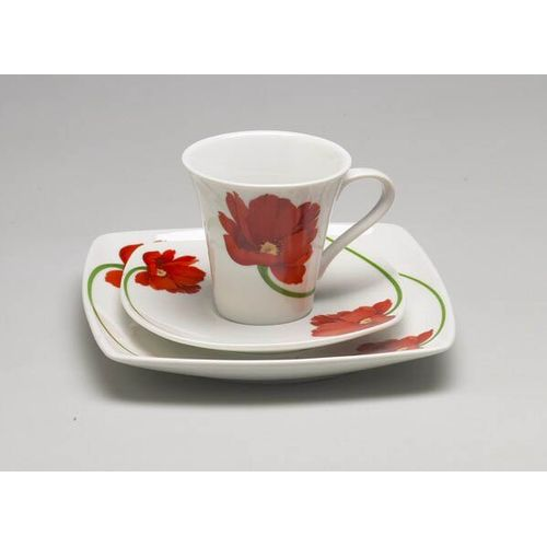 Red Flower Design Plate Cup & Saucer Gift Set For One