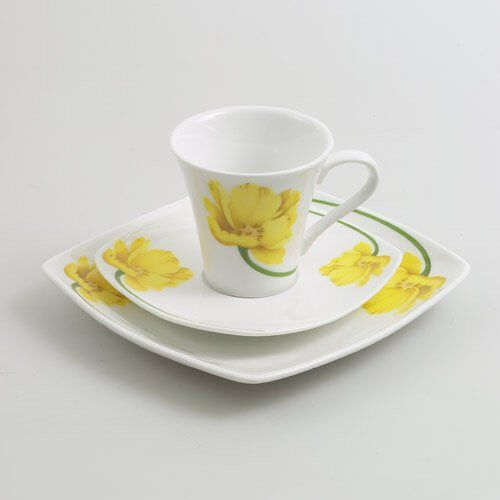 Yellow Floral Design Plate & Cup Saucer Gift Set For One