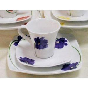 Floral design Cup Saucer & Plate Set (Blue)