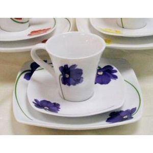 Leonardo Collection Floral Design Cup Saucer & Plate for One Gift Set - Blue