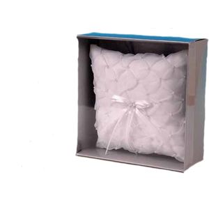 White Cherish Square Ring Pillow