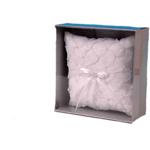 White Cherish Square Ring Pillow
