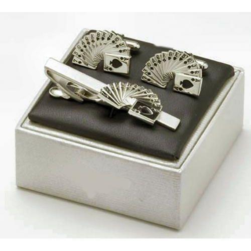 Spades Card Suit Cufflinks & Tie Bar Gift Set