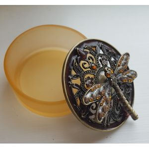 Jewelled Dragonfly Trinket Box Amber