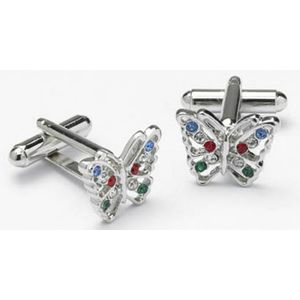 Butterfly Cufflinks with Multi Colour Crystal Wings