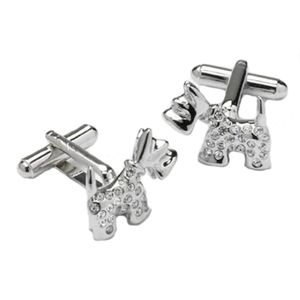 Scottie Dog with Crystals Cufflinks