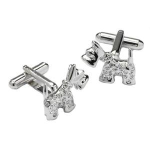 Scottie Dog with Swarovski Crystals Cufflinks