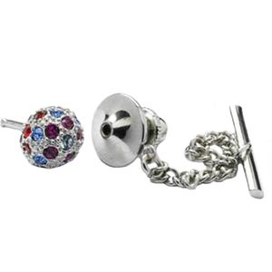 Multi Coloured Swarovski Crystal Globe Tie Pin