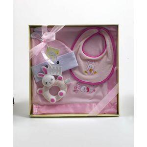 Russ Berrie Bunny Baby Blanket Bib Rattle & Hat Gift Set - Pink