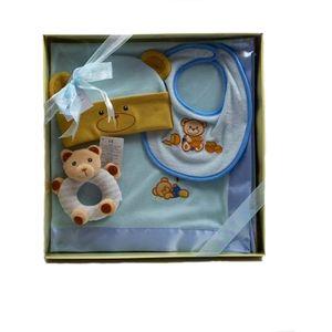 Russ Berrie Bear Baby Blanket Bib Rattle & Hat Gift Set - Blue