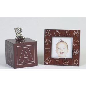 Wood Effect Money Box & Photo Frame Baby Gift Set - ABC Design