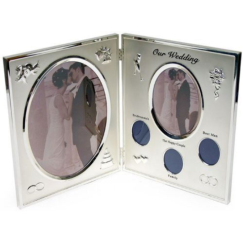 Our Wedding Collage silver plated book Photo Frame