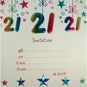 21st Birthday Party Invitations with envelopes x10
