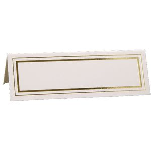 Place Cards - White with Gold Edge Design x12