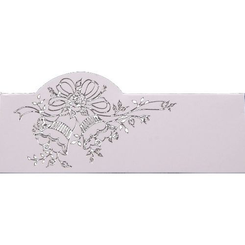 Luxury Silver Foil Wedding Bells Name Cards