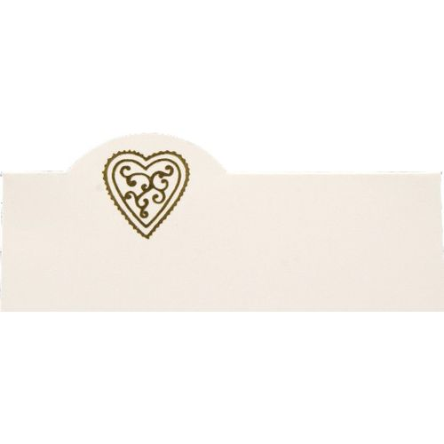 Gold Heart Wedding Table Place Name Cards